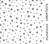 trace brown doodle paw prints...   Shutterstock .eps vector #1480970576