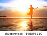 silhouette woman practicing... | Shutterstock . vector #148098110