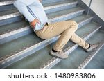 mature man lying on staircase... | Shutterstock . vector #1480983806