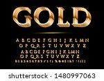 golden glossy vector font or... | Shutterstock .eps vector #1480997063