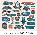 set of retro ribbons and labels ... | Shutterstock .eps vector #148102604