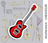 electric guitar icon over gray... | Shutterstock .eps vector #148103228
