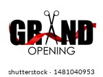 grand opening card with ribbon... | Shutterstock .eps vector #1481040953