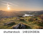 Small photo of View of the Ashopton Viaduct, Ladybower Reservoir, and Crook Hill in the Derbyshire Peak District National Park, England, UK.