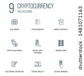 set of 9 cryptocurrency related ...