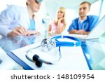 close up of stethoscope and... | Shutterstock . vector #148109954