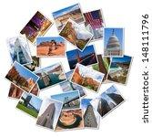 Usa famous landmarks and...