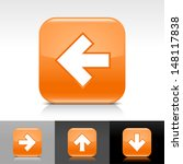 arrow icon set. orange glossy...
