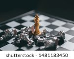 Gold Chess Game King Staying...