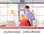 student packing backpack vector ... | Shutterstock .eps vector #1481190260