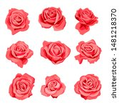 vector drawing red flowers of...   Shutterstock .eps vector #1481218370