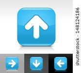 arrow upload icon. blue glossy...