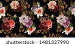 seamless floral pattern with...   Shutterstock . vector #1481327990