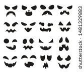pumpkin faces. halloween evil... | Shutterstock .eps vector #1481329883