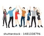 set of men and women standing ... | Shutterstock .eps vector #1481338796