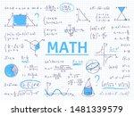 doodle math. algebra and... | Shutterstock .eps vector #1481339579