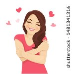 happy cute woman with curly... | Shutterstock .eps vector #1481341316