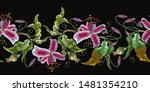 embroidery tiger lilies... | Shutterstock .eps vector #1481354210