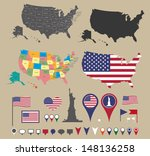USA map set, flag, symbols and location icons