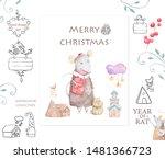 cute cartoon christmas rat...   Shutterstock . vector #1481366723