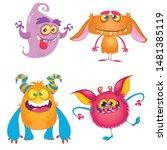 funny cartoon monsters set....   Shutterstock .eps vector #1481385119