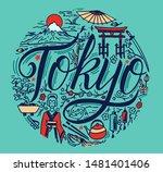 tokyo famous landmarks in... | Shutterstock .eps vector #1481401406