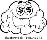 outlined money loving brain... | Shutterstock . vector #148141343