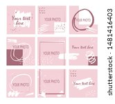 9 template with pink and white... | Shutterstock .eps vector #1481416403