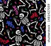 seamless pattern. skeletons... | Shutterstock . vector #1481427059