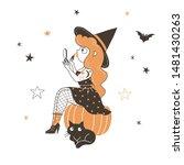 witch doing makeup flat vector... | Shutterstock .eps vector #1481430263