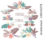 vector set with vintage flowers | Shutterstock .eps vector #148143278