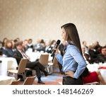beautiful business woman is... | Shutterstock . vector #148146269
