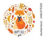 vector autumn card with cute... | Shutterstock .eps vector #1481475320