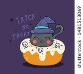 cute halloween cat vector with... | Shutterstock .eps vector #1481513069