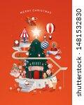 christmas santa's workshop... | Shutterstock .eps vector #1481532830
