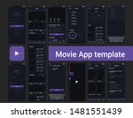 movie streaming app ui template | Shutterstock .eps vector #1481551439