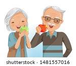couple elderly eating together. ... | Shutterstock .eps vector #1481557016