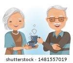 couple elderly drinking... | Shutterstock .eps vector #1481557019