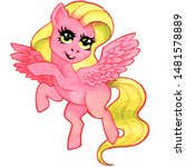 flying pink horse  fairy tale... | Shutterstock . vector #1481578889