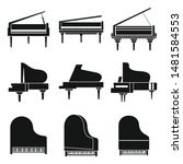 music grand piano icons set.... | Shutterstock .eps vector #1481584553