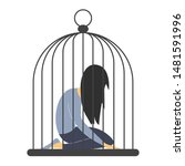 sad woman in the cage. man... | Shutterstock .eps vector #1481591996
