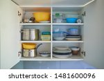 Open White Kitchen Cabinet Wit...