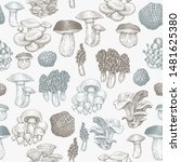 mushrooms seamless pattern.... | Shutterstock .eps vector #1481625380