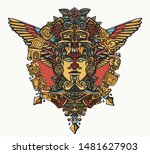 ancient mayan totem. aztec god. ... | Shutterstock .eps vector #1481627903