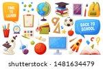 set of school items. cartoon... | Shutterstock .eps vector #1481634479