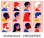 a set of people's faces in... | Shutterstock .eps vector #1481664563