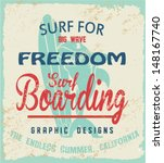 vector retro surf label print.... | Shutterstock .eps vector #148167740