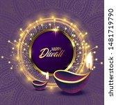 happy diwali. paper graphic of... | Shutterstock .eps vector #1481719790