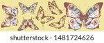beautiful color butterflies set ... | Shutterstock .eps vector #1481724626