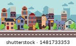row of different houses along... | Shutterstock .eps vector #1481733353
